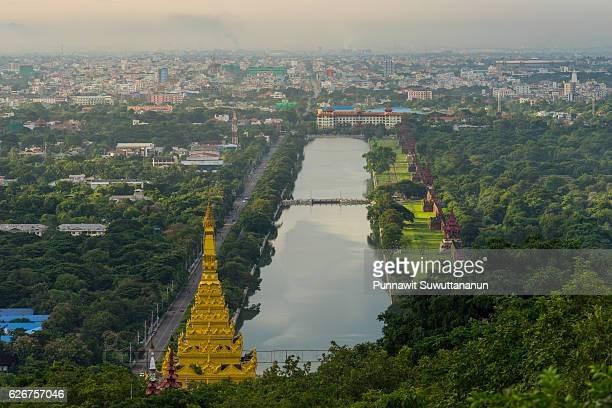 Top view of Mandalay city from Mandalay hill in the morning, Myanmar