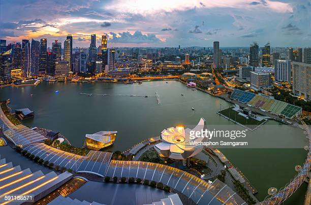 Top view of Marina bay from Sand Sky Park