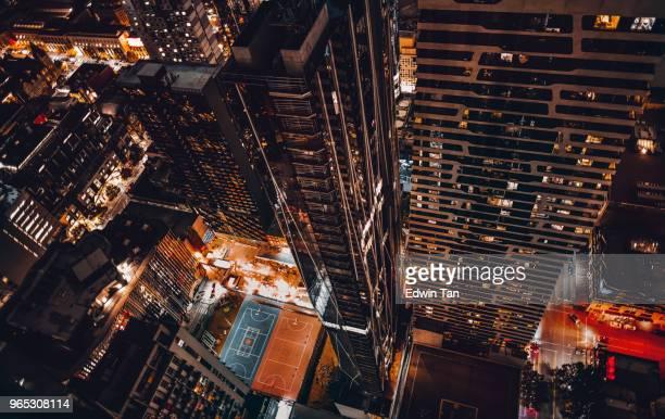 Draufsicht der Melbourne Cbd in der Nacht