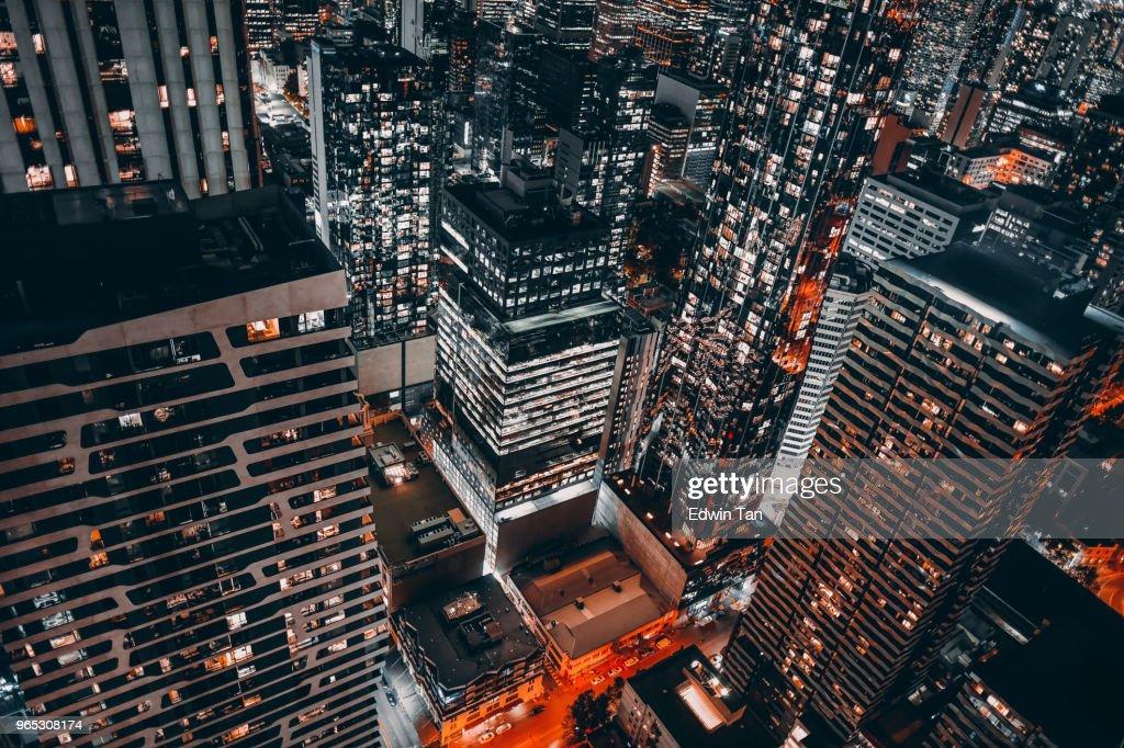 vista dall'alto del cbd di Melbourne di notte : Foto stock