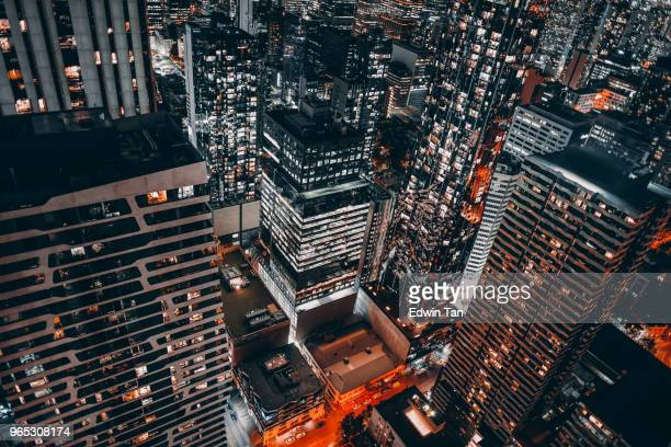 top view of melbourne cbd at night - financial district stock pictures, royalty-free photos & images