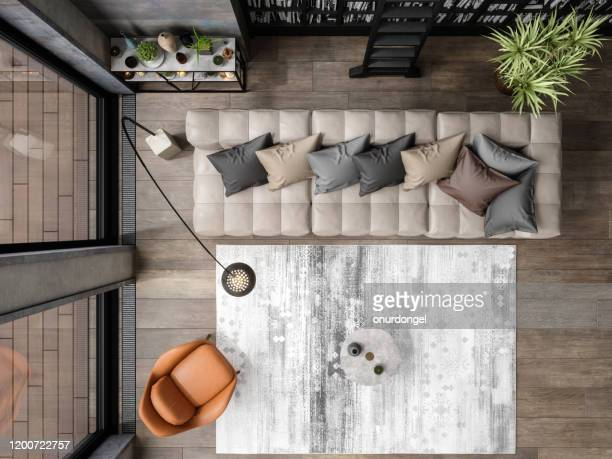 hoogste mening van moderne woonkamer - table top shot stockfoto's en -beelden