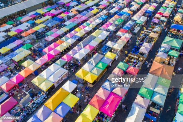 Top view of Multi-colored tents