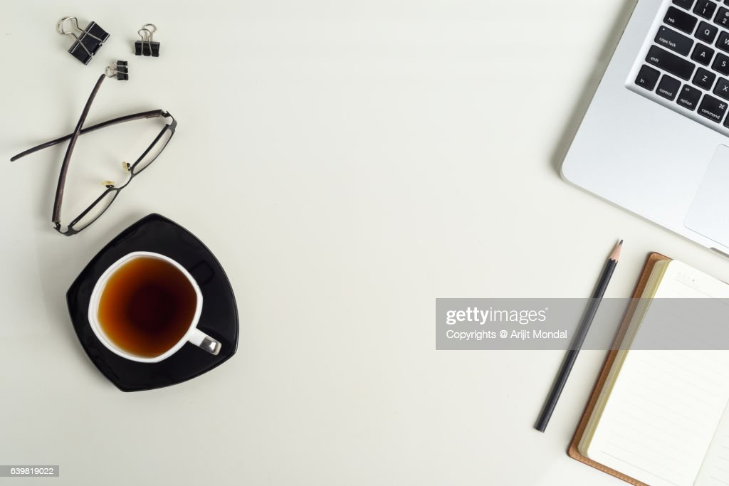 top office table cup. Top View Of Office Table With Laptop Keyboard, Tea Cup, Notepad, Pencil, Cup