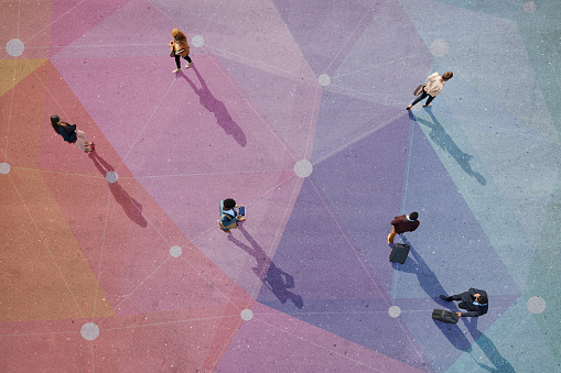 Top view of people walking in different directions of pattern, painted on asphalt - gettyimageskorea