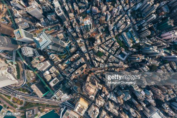 top view of residential at central district in hong kong china - central stock pictures, royalty-free photos & images