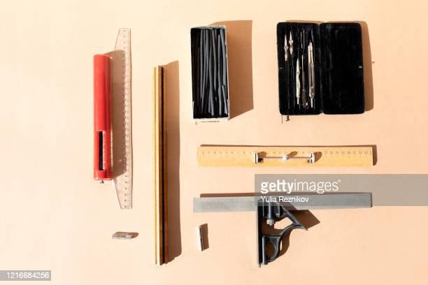 top view of retro architect working tools - côte à côte photos et images de collection