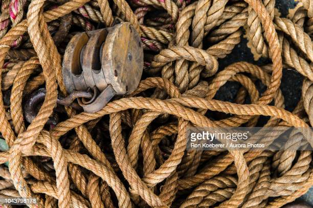 top view of rope block and tackle - koeberer stock photos and pictures