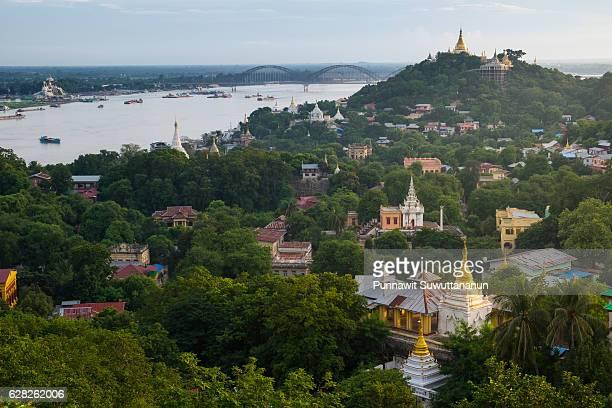 Top view of Sagaing city  at sunset, Mandalay, Myanmar