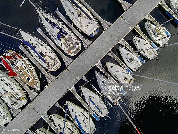 Top view of sailboats