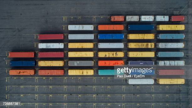 Top View Of Shipping Containers