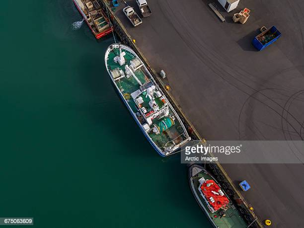 Top view of ships docked