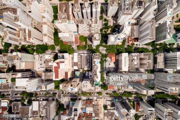 top view of skyscrapers at city - city stock pictures, royalty-free photos & images