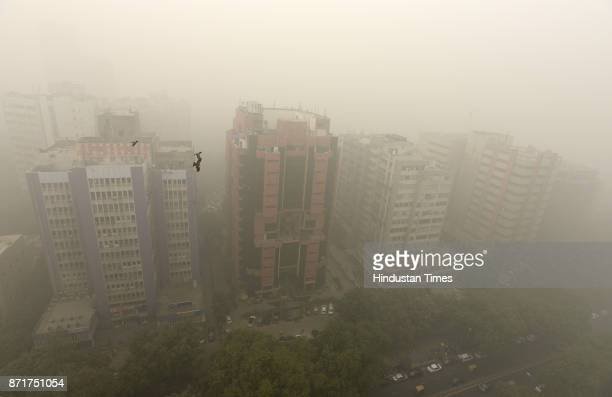 Top View of Smog and Fogging Weather at Connaught Place on November 8 2017 in New Delhi India The National Capital Region is going through this years...