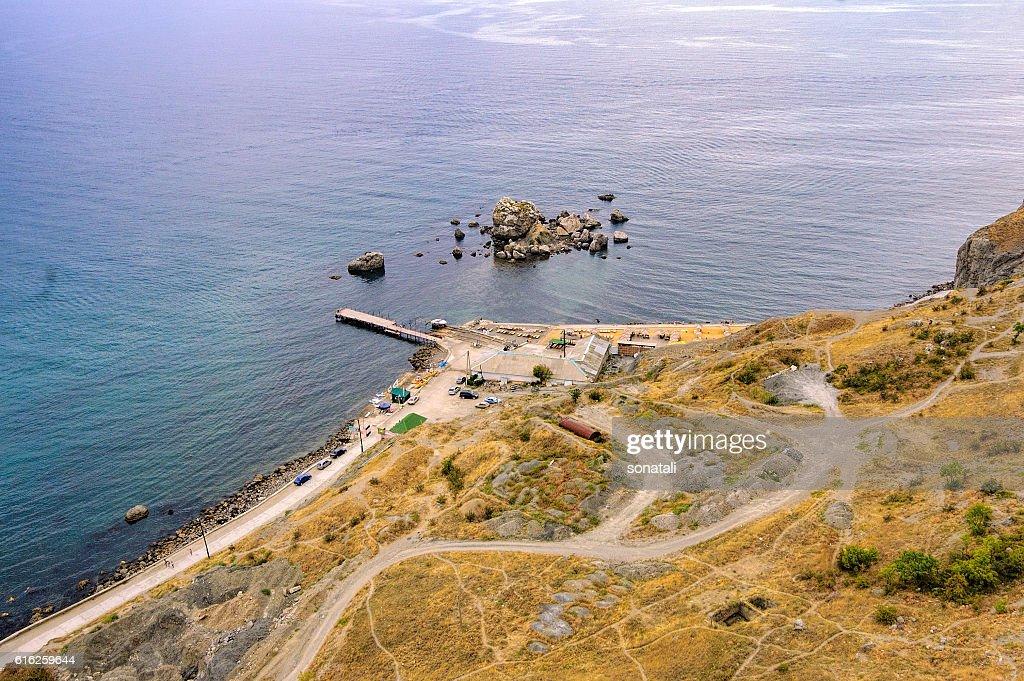 Top view of Sudak bay : Stock Photo