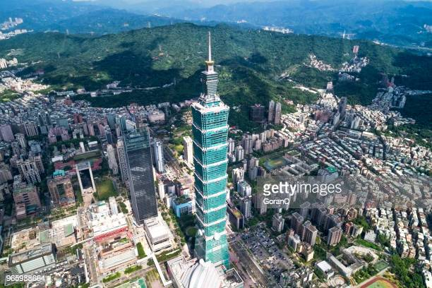 top view of taipei 101 in finacial distict in taipei, taiwan - taipei stock pictures, royalty-free photos & images