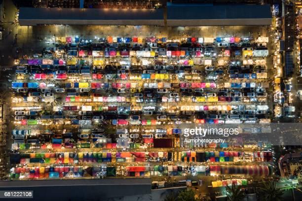 Top view of Tarad Rodfai or Train market in Bangkok, Thailand