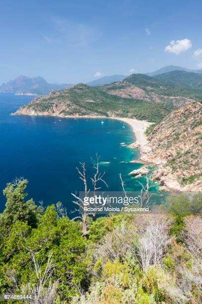 Top view of the blue sea Porto Porto Corsica