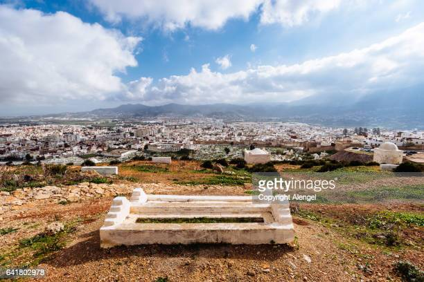 top view of the cemetery. - tetouan stock photos and pictures
