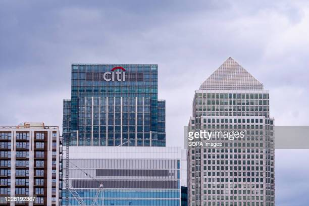 Top view of the Citigroup and the Canada Square buildings at Canary Wharf business, financial and shopping district of London.