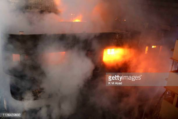 Top view of the fire that broke out from a chemical warehouse at Lalbag in Dhaka At least 10 people died and 50 people were injured for this fire