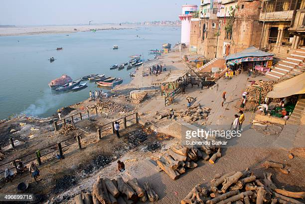 Top view of the Manikarnika burning ghat on the banks of the river Ganges in Varanasi, Uttar Pradesh, India.