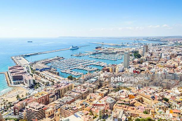 top view of the marina of alicante - valencia spanien stock-fotos und bilder