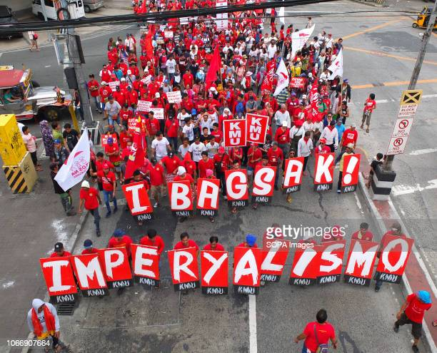Top view of the Militant protesters during the protest Leftist groups stage Bonifacio Day of protest in Mendiola and at the US Embassy in Manila on...