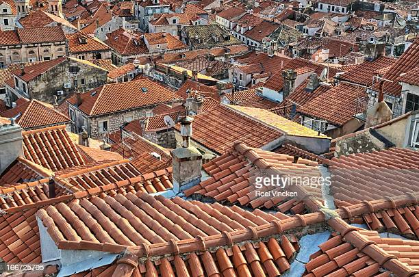Top view of the old city of Dubrovnik with it's remarkable red tiled roofs.