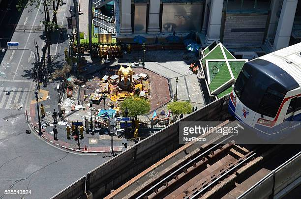 Top view of the scene of the bomb balst at the Erawan Shrine in Bangkok, Thailand on August 18, 2015. In the evening on August 17, The bomb blast...