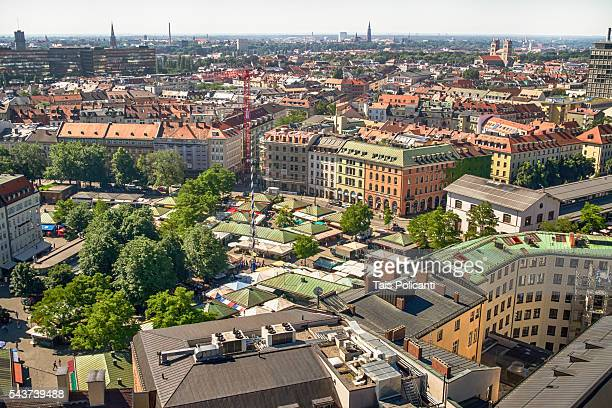 Top view of the Viktualienmarkt Munich (Victuals Market) in the city centre of Munich, Bavaria, Germany.