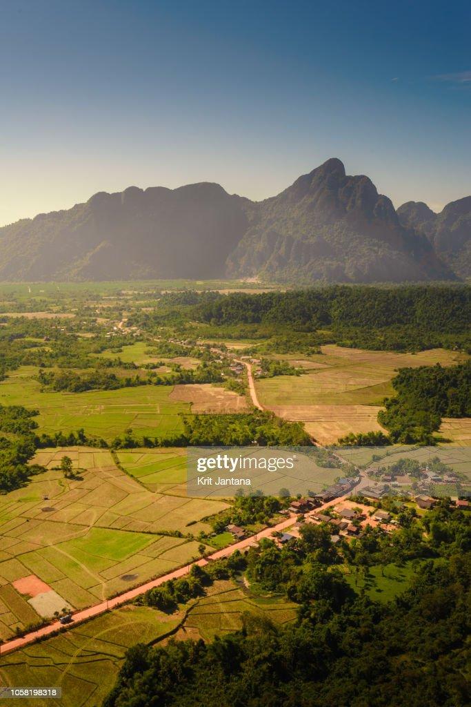 Top view of Vang Vieng, Laos : Stock Photo
