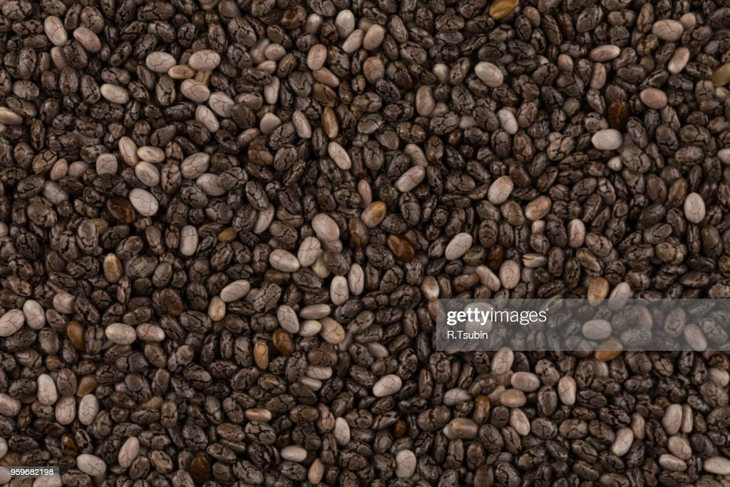 Top view on chia seeds. Can be used for background : Stock-Foto