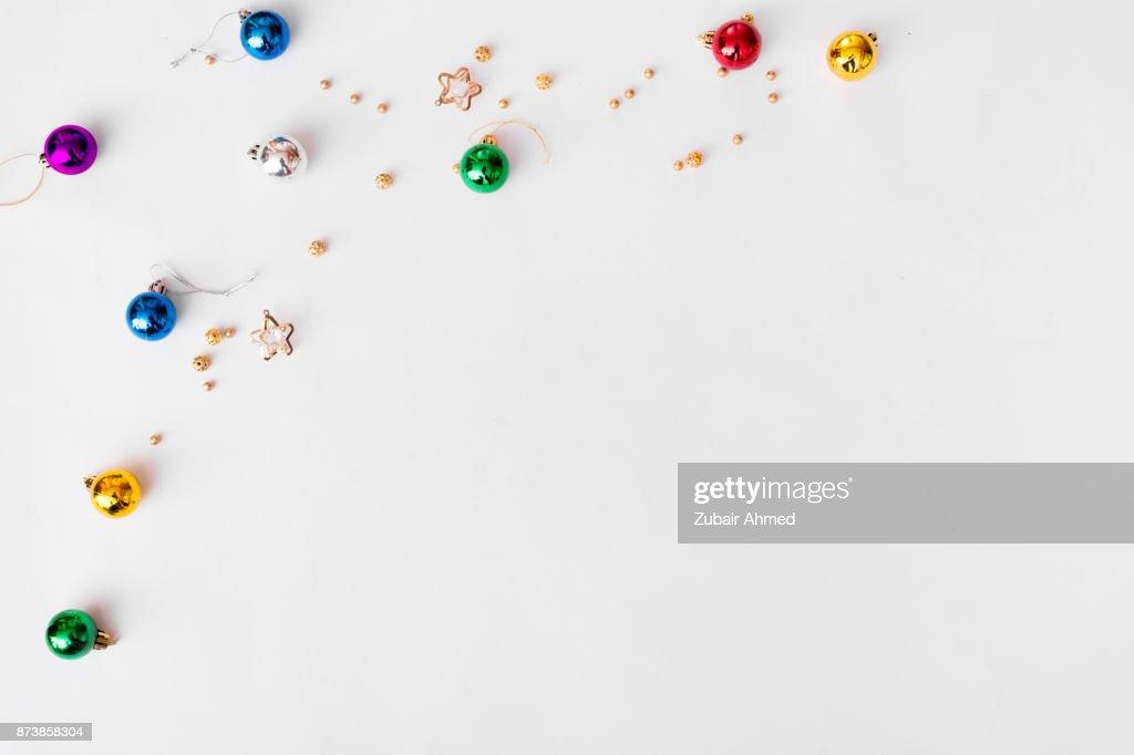 Draufsicht Auf Schones Weihnachtsgeschenk Verpackt In Weissem