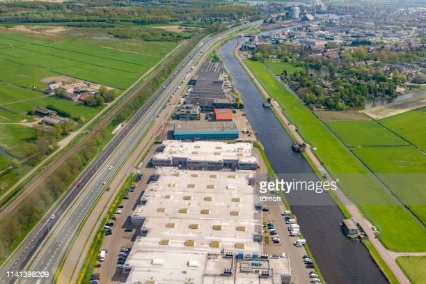 top view on storage buildings. - north holland stock pictures, royalty-free photos & images