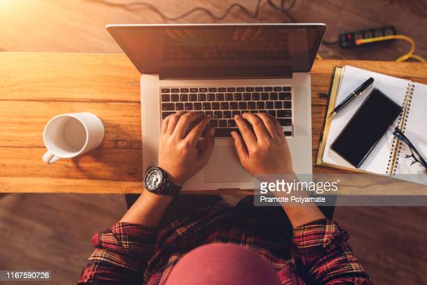 [top view] online shopping young start business in a cardboard box at work. the seller prepares the delivery box for the customer, online sales, or ecommerce. - distance learning stock pictures, royalty-free photos & images