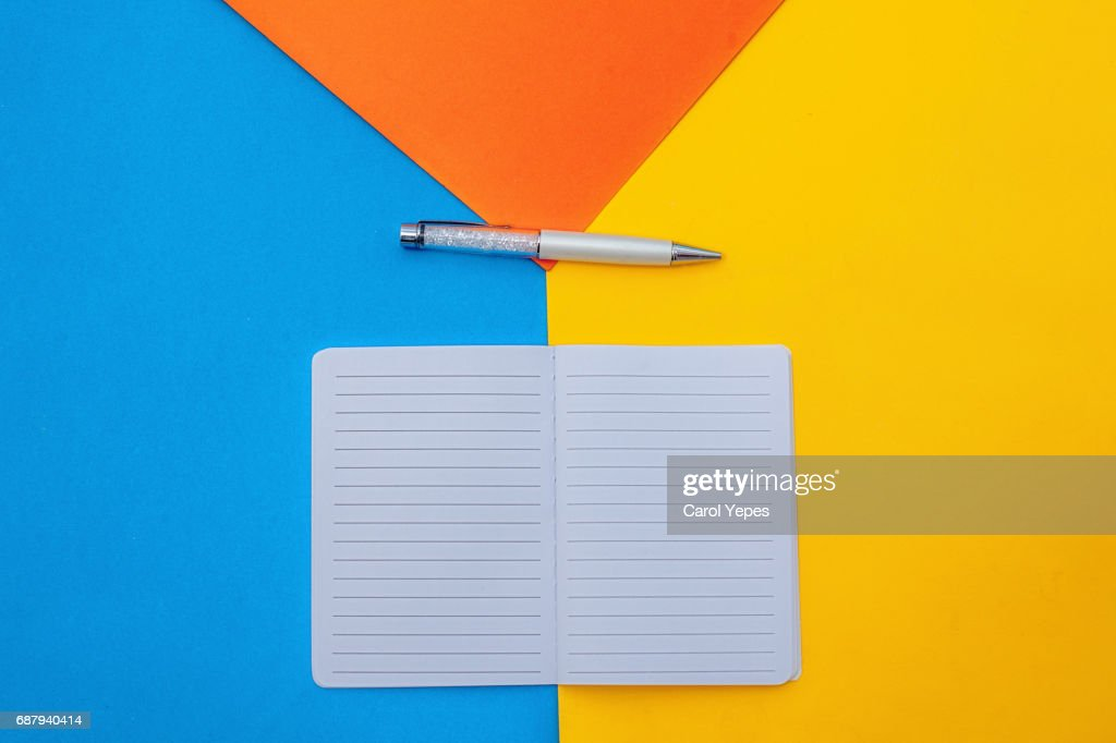 top view open blank notebook and pen : Stock Photo