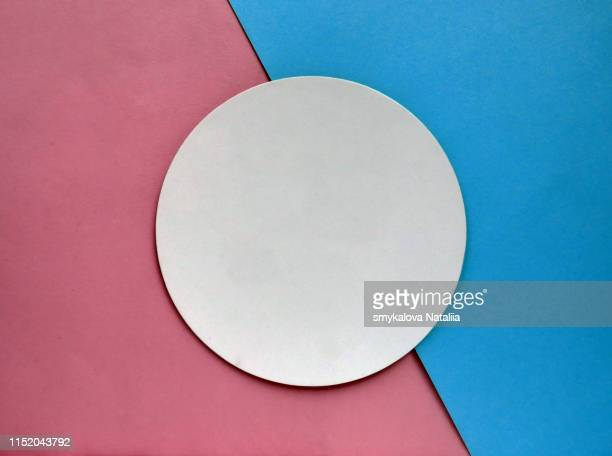Top view paper mockup template on color background. Flat lay.