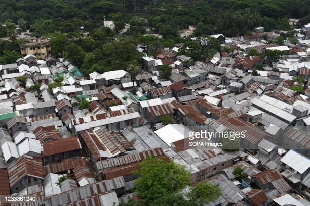 Top view part of Mohakhali Sat Tala slum in Dhaka. According to World Bank, each year up to half million rural migrants stream into capital city...