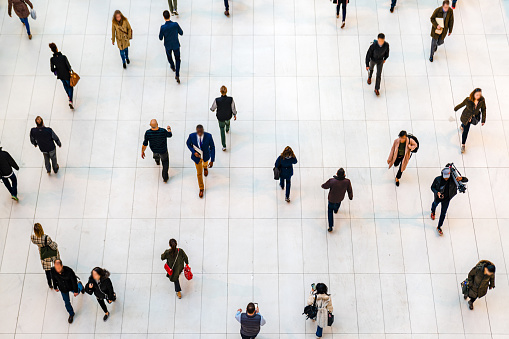 Top view people walking white floor or large crowd of anonymous people. 1178084326