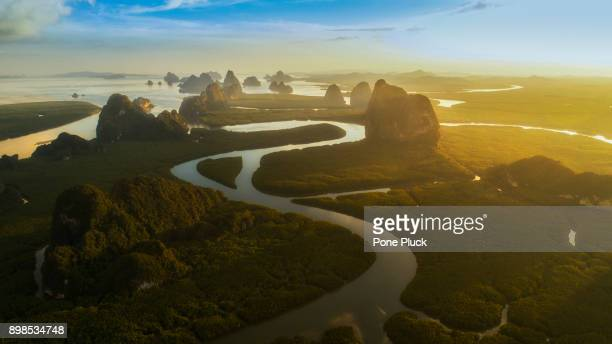 top view phang nga bay from drone look like heaven, beautiful amazing shot - indian ocean stock pictures, royalty-free photos & images