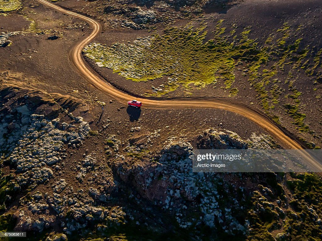 Top view- Road in Volcanic Landscape, Iceland : Stock Photo
