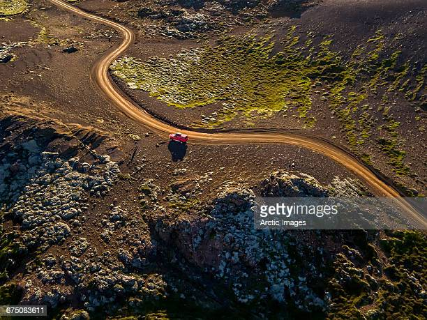 Top view- Road in Volcanic Landscape, Iceland