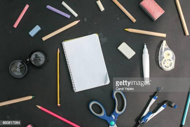 top view school supplies