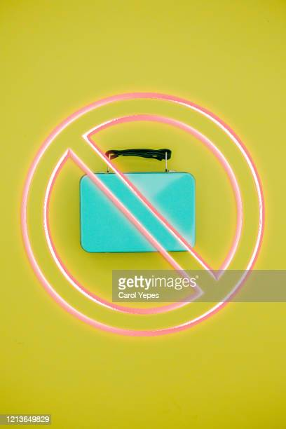 top view suitcase forbidden fly sign - travel ban stock pictures, royalty-free photos & images