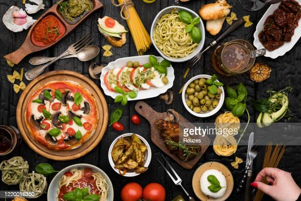 top view table full of food - gourmet stock pictures, royalty-free photos & images