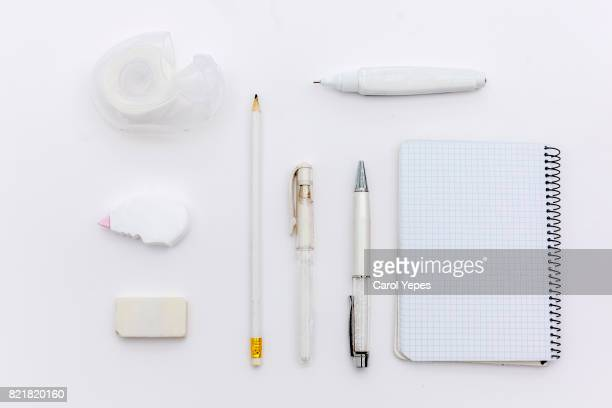 top view tablet and school supplies.white