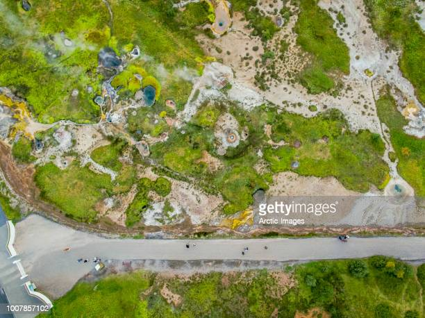 Top view- Walking path by Geothermal Landscape, Iceland