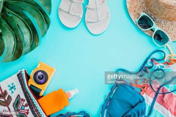 top view woman summer stuff - accessoires stock-fotos und bilder