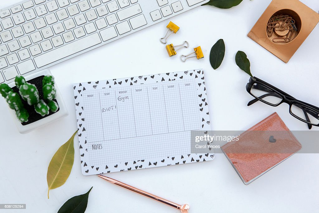 top view work space with schedule/timetable : Stock Photo
